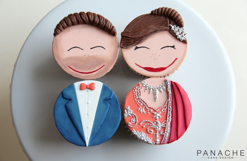 Favours - Bride and Groom cupcakes - with logo