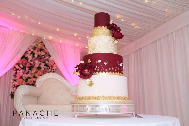 Red And Gold Cake Design