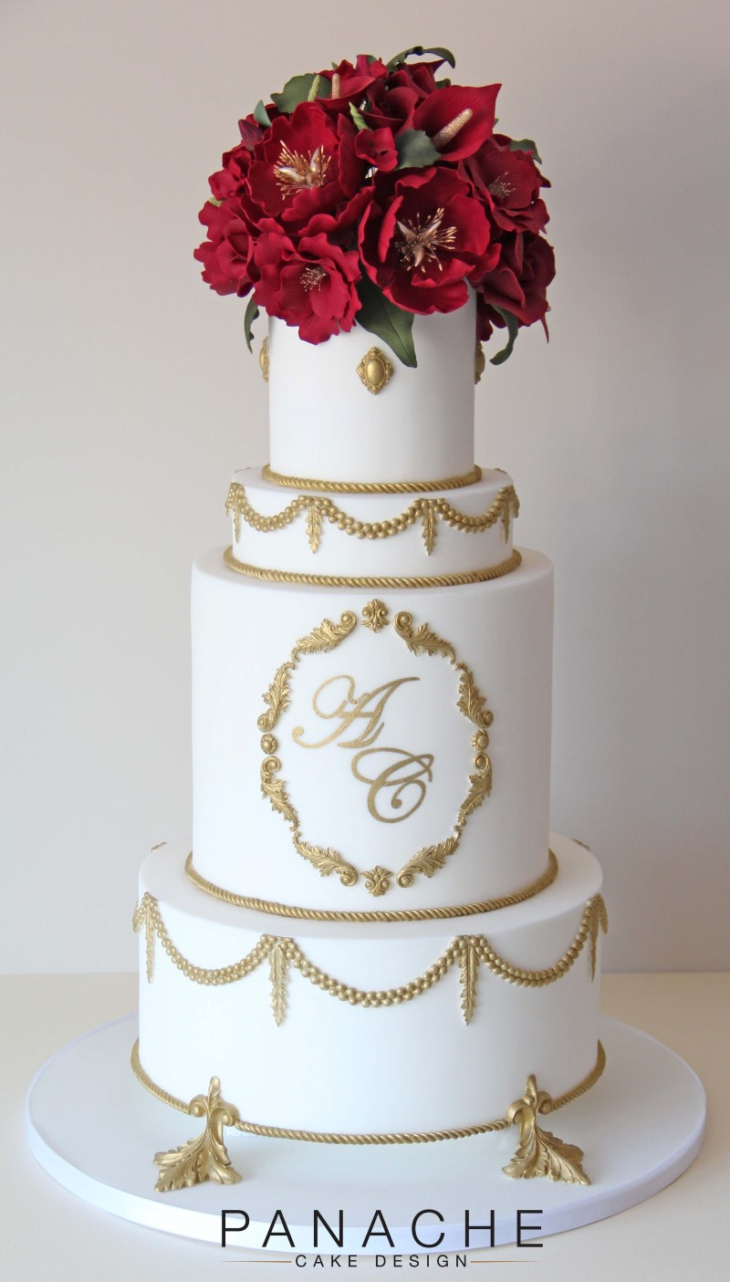 White And Red Wedding Cake Photos